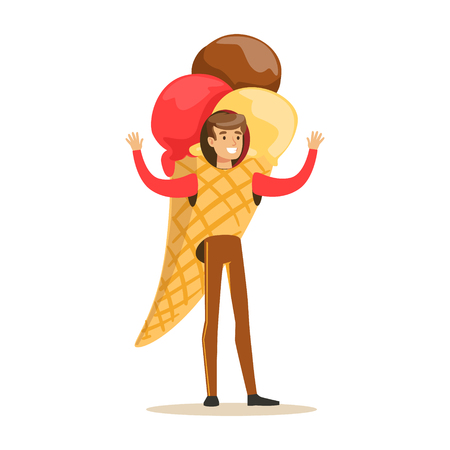 Man wearing ice cream cone costume, puppets food vector Illustration isolated on a white background Ilustração