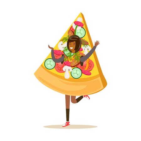 Smiling woman wearing pizza costume, fast food snack character vector Illustration isolated on a white background