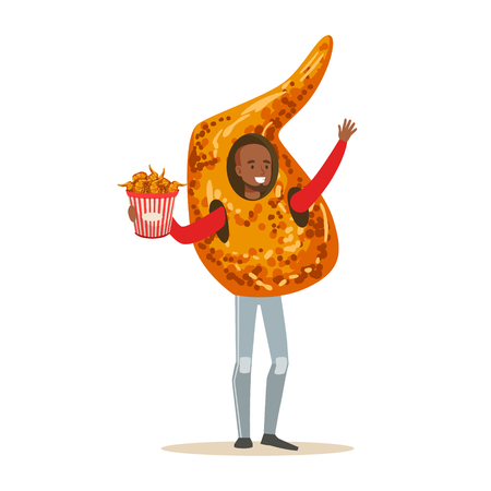 Smiling man wearing fried chicken wing costume, fast food snack character vector Illustration isolated on a white background Illustration