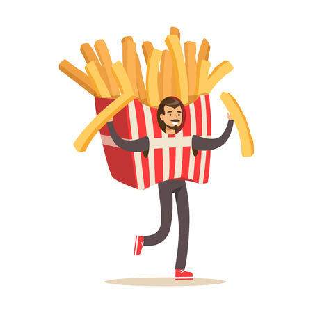 Man wearing french fries costume, fast food snack character vector Illustration isolated on a white background