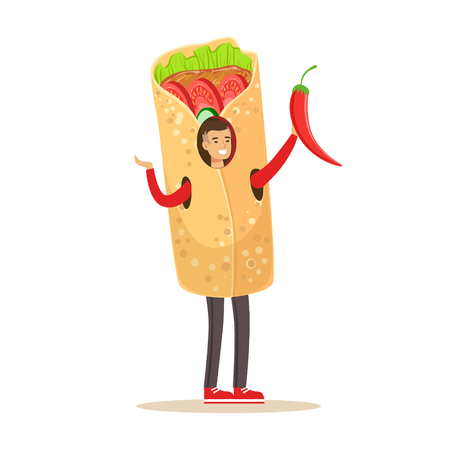 Man wearing doner kebab costume, fast food snack character vector Illustration isolated on a white background