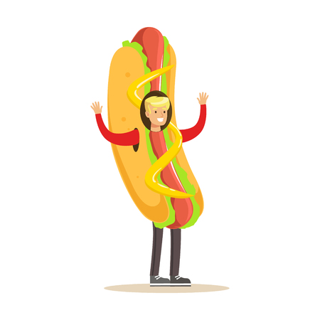Man wearing hot dog costume, fast food snack character vector Illustration isolated on a white background