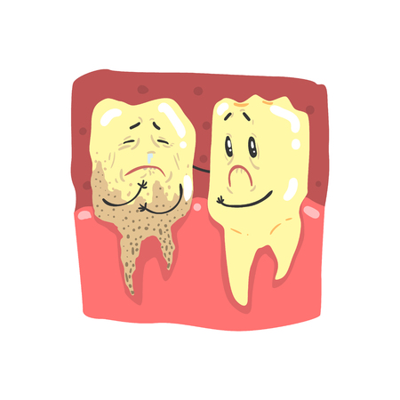 Cute cartoon healthy and decayed teeth characters with funny faces vector Illustration Illustration