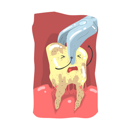Cartoon tooth character extraction by dental pliers vector Illustration