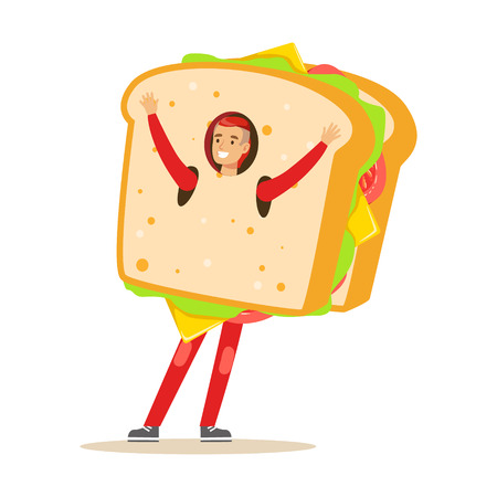 Man wearing sandwich costume, fast food snack character vector Illustration