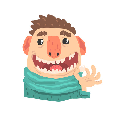 Patient of a dentist cartoon character holding a tooth in his hand vector Illustration isolated on a white background