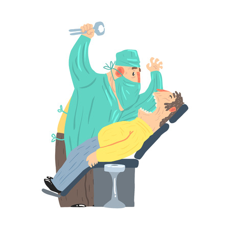Cartoon scary dentist character with male patient at clinic vector Illustration isolated on a white background Illustration