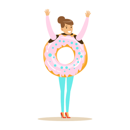 Smiling woman wearing donut costume, fast food snack character vector Illustration