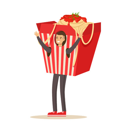 Man wearing chinese noodles takeaway box costume, fast food snack character vector Illustration Ilustração