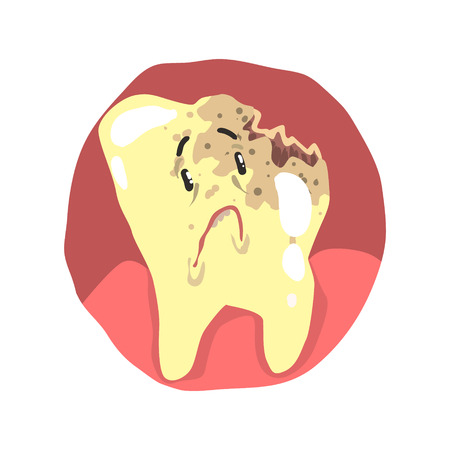 child care: Tooth decay cartoon character with sad face vector Illustration