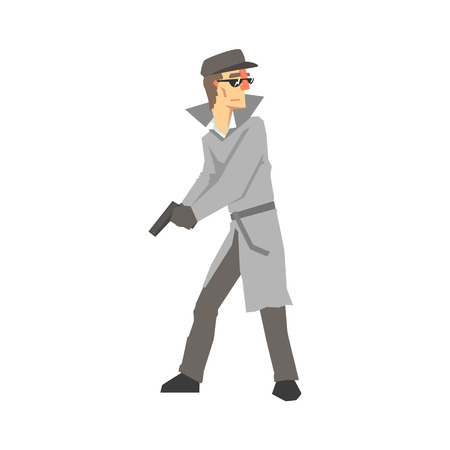 Detective character with gun. Private investigator, inspector or police officer vector Illustration isolated on a white background