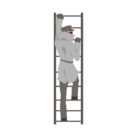 Detective man character climbing on a ladder, private investigator, inspector or police officer vector Illustration isolated on a white background Illustration