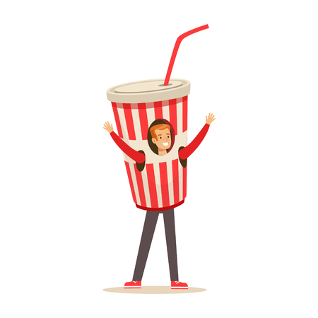 Smiling man wearing cup of soda drink costume, puppets food vector Illustration