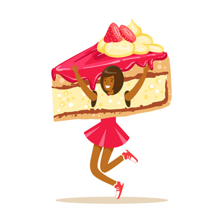 Smiling woman wearing cake costume, puppets food vector Illustration