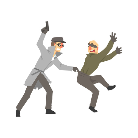 Detective character with gun detaining suspect, private investigator, inspector or police officer vector Illustration
