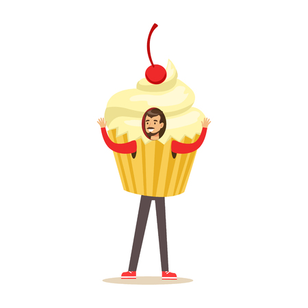 Smiling man wearing cupcake costume, puppets food vector Illustration Ilustração