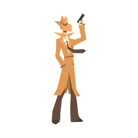 Detective character in brown coat standing and holding gun. Private investigator, inspector or police officer vector Illustration