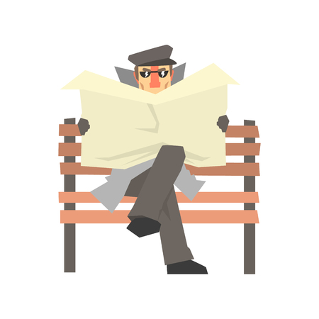 Detective character sitting on a bench and spying reading newspaper, private investigator, inspector or police officer vector Illustration Illustration