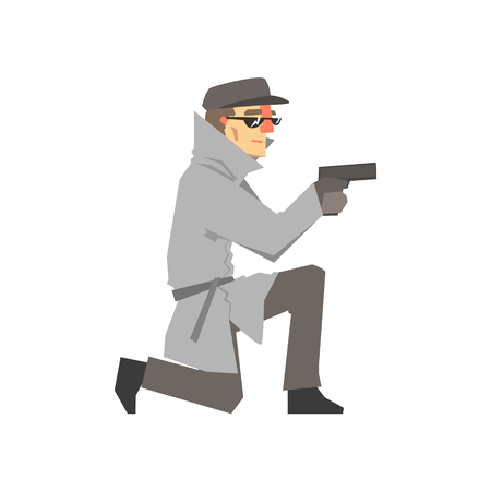 Detective character in a gray coat aiming a gun knees, private investigator, inspector or police officer vector Illustration