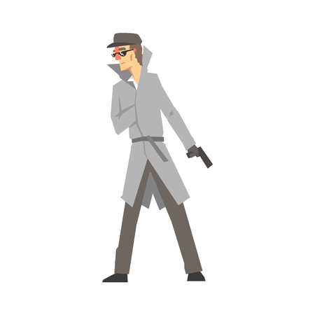 Detective character with gun, confident detective in gray coat searching vector Illustration