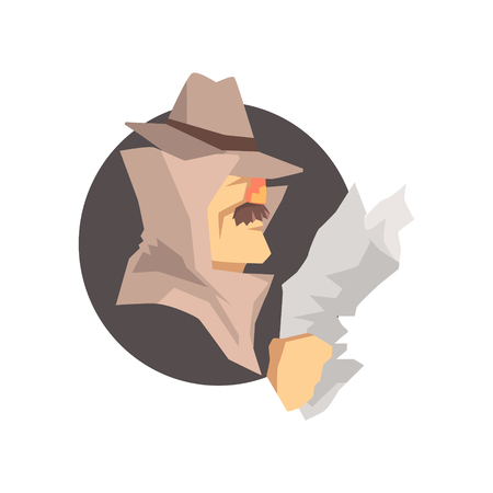 Disguised detective character wearing classic fedora hat avatar, private investigator, inspector or police officer vector Illustration 向量圖像