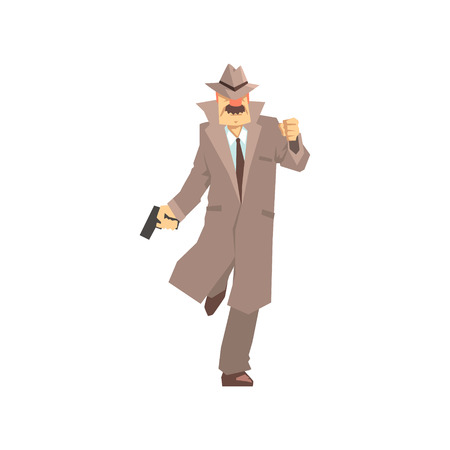 Detective character running with gun. Private investigator, inspector or police officer vector Illustration