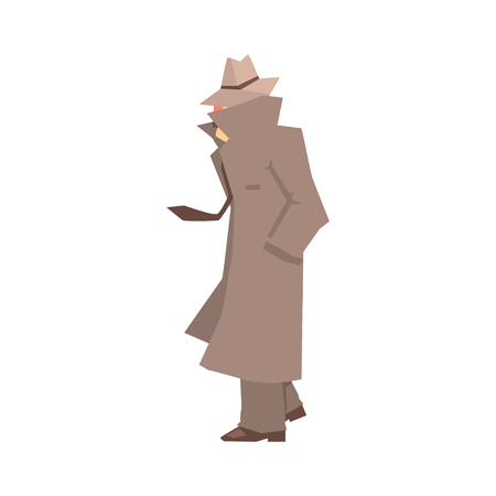 veiled: Disguised detective character in grey coat searching, private investigator, inspector or police officer vector Illustration isolated on a white background Illustration