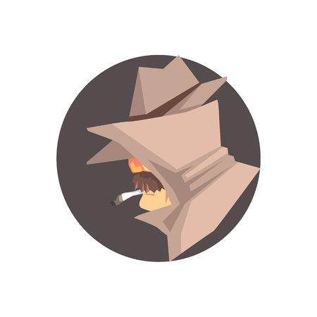 veiled: Disguised detective character avatar, private investigator, inspector or police officer vector Illustration