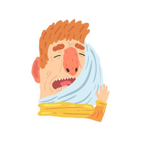 치통 고통에서 고통을 하 고 그의 뺨을 누르면 남자 만화 문자 벡터 일러스트 흰색 배경에 고립