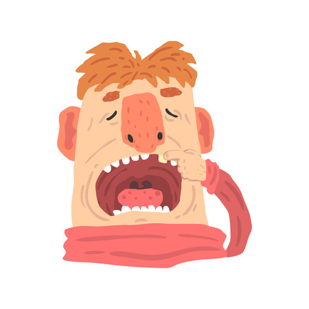 Cartoon man with open mouth on a dentist visit cartoon character vector Illustration