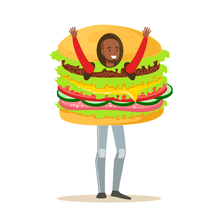 Man wearing burger costume, fast food snack character vector Illustration isolated on a white background Banco de Imagens