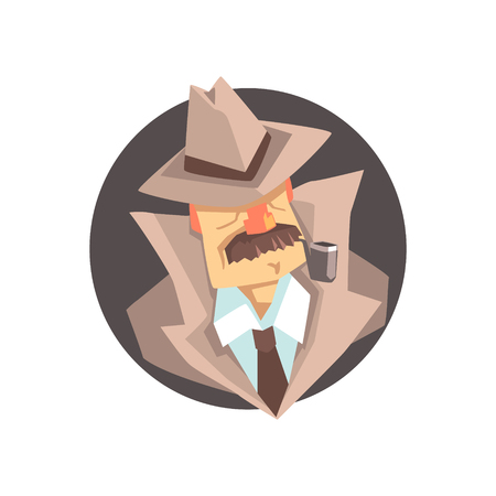 Detective character wearing classic fedora hat avatar, private investigator, inspector or police officer vector Illustration