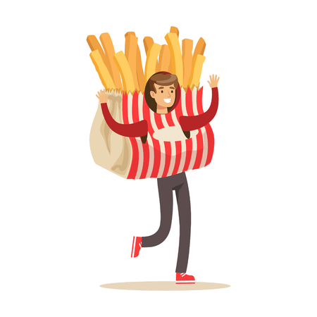 Man wearing french fries costume, potato snack character vector Illustration isolated on a white background
