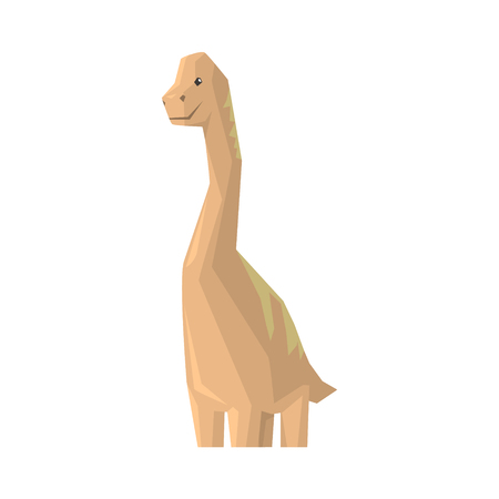 Cute cartoon dinosaur character, Jurassic period animal vector Illustration isolated on a white background Çizim