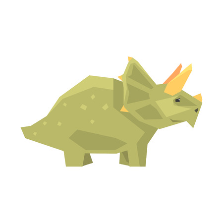 Cartoon styracosaurus character, Jurassic period animal vector Illustration isolated on a white background