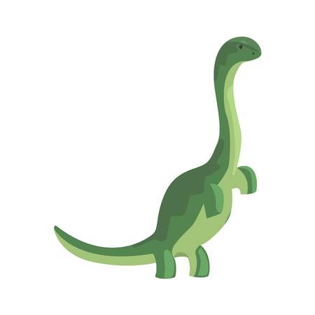 Green theropod, dinosaur character, Jurassic period animal vector Illustration