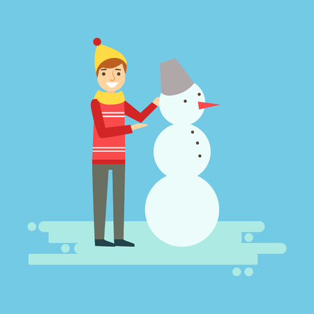 Smiling boy making a snowman. Winter activity colorful character vector Illustration isolated on a white background
