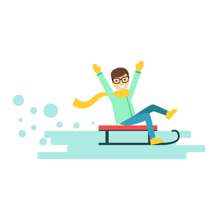 shawl: Happy smiling boy riding a sledge. Winter activity colorful character vector Illustration isolated on a white background