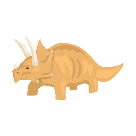 Brown styracosaurus dinosaur character, Jurassic period animal vector Illustration