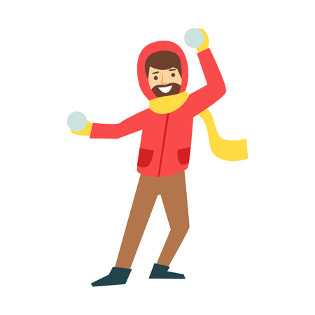 family holiday: Happy man enjoy playing with a snowballs. Winter activity colorful character vector Illustration isolated on a white background Illustration