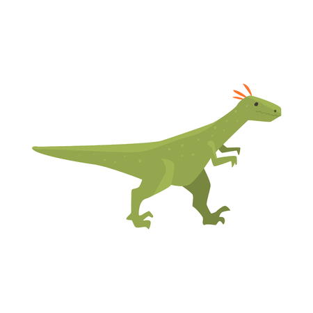 Cute cartoon green dinosaur character, Jurassic period animal vector Illustration isolated on a white background Çizim