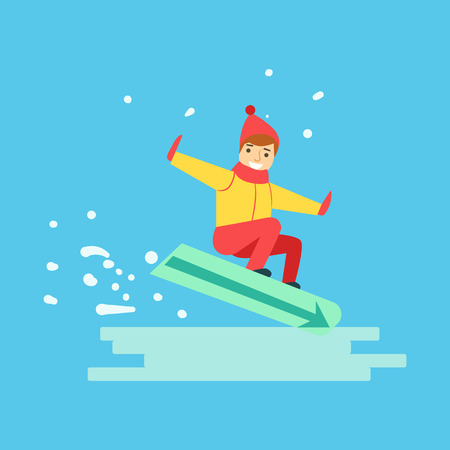 Happy boy snowboarder sliding down the hill. Winter sports colorful character vector Illustration
