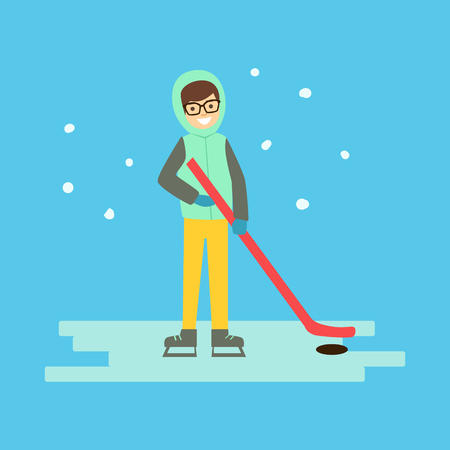 Happy boy skating with hockey stick and puck. Winter activity colorful character vector Illustration