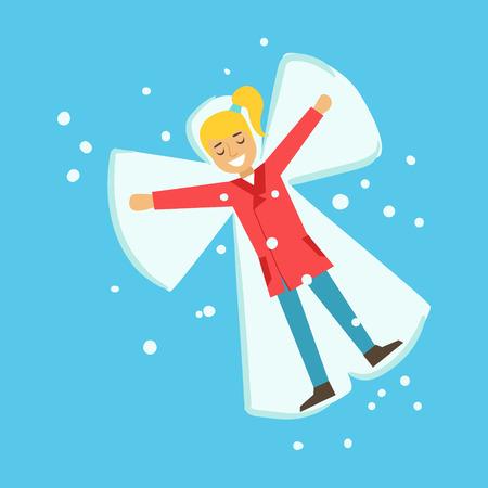Glückliches Mädchen Spaß beim Schneien Engel liegen auf einem Schnee. Winter-Aktivität bunte Zeichen Vektor Illustration isoliert auf weißem Hintergrund Standard-Bild - 80195956
