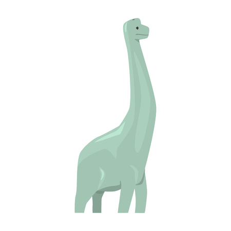 Cartoon brachiosaurus dinosaur character, Jurassic period animal vector Illustration