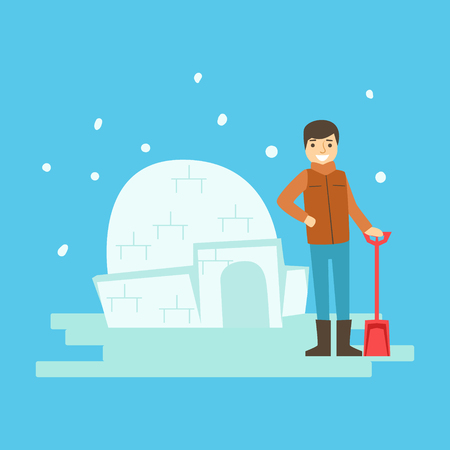 family holiday: Cheerful boy building a snow castle. Winter activity colorful character vector Illustration