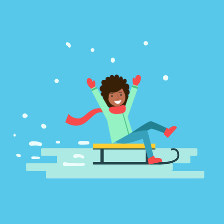 Smiling girl enjoying a sleigh ride. Winter activity colorful character vector Illustration