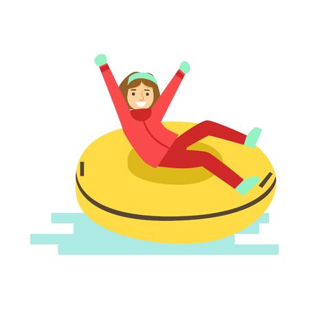 Fille s'amuser en traîneau sur tube en caoutchouc neigeux. Activité d'hiver vecteur de caractère coloré Illustration