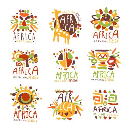 아프리카는 독창적 인 디자인으로 설정되었습니다. 아프리카 여행 다채로운 손으로 그린 벡터 llustrations