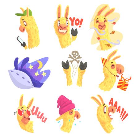 Funny alpaca characters posing in different situations, cartoon emoji alpaca colorful Illustrations Illustration